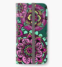 Mandala Pattern Green Pink Yellow iPhone Wallet