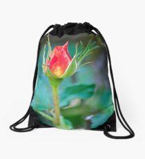 Single Red Bud Drawstring Bag