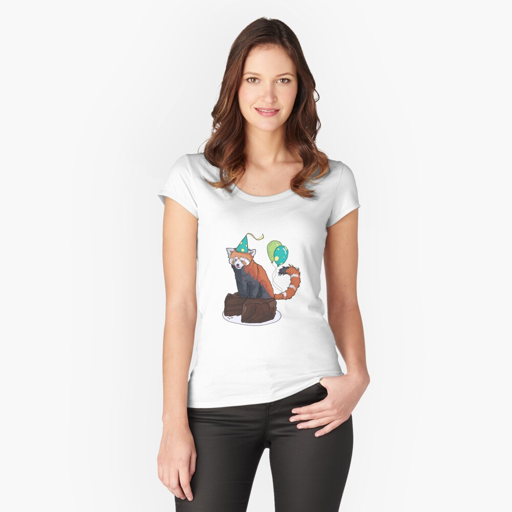 Red Panda Party Women's Fitted Scoop T-Shirt Front