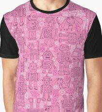 Robot pattern - Pink Graphic T-Shirt
