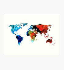 Map of The World 3 -Colorful Abstract Art Art Print