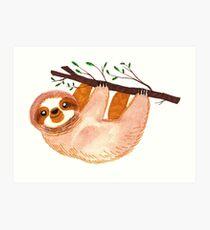 Kawaii Sloth Watercolor Art Print