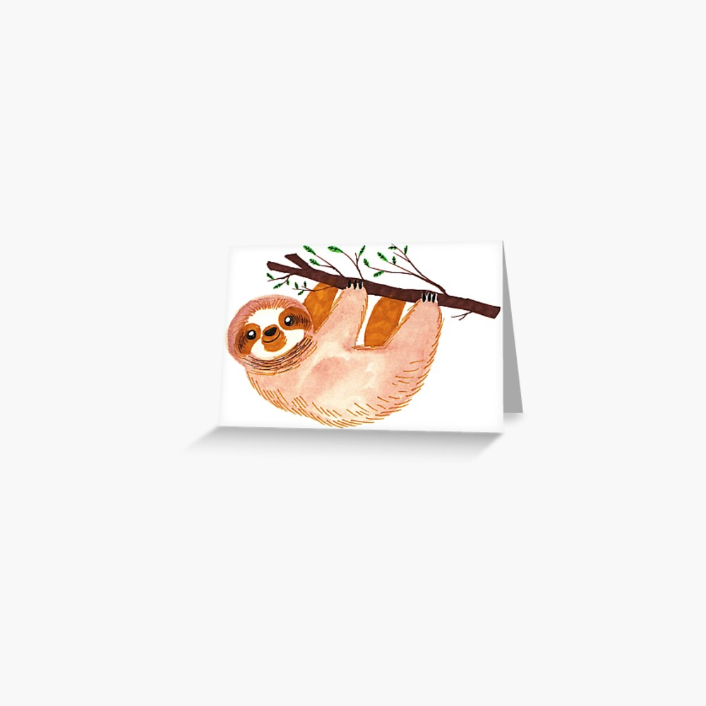 Kawaii Faultier Aquarell Grußkarte