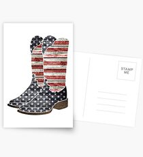 Patriotic Cowboy Boots Postcards