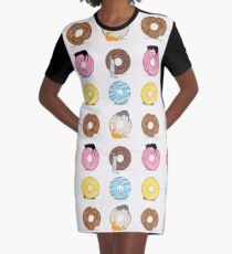 Cats and Doughnuts Graphic T-Shirt Dress