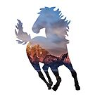 Wild Mustang Horse and Rocky Mountains Silhouette  by VisionQuestArts