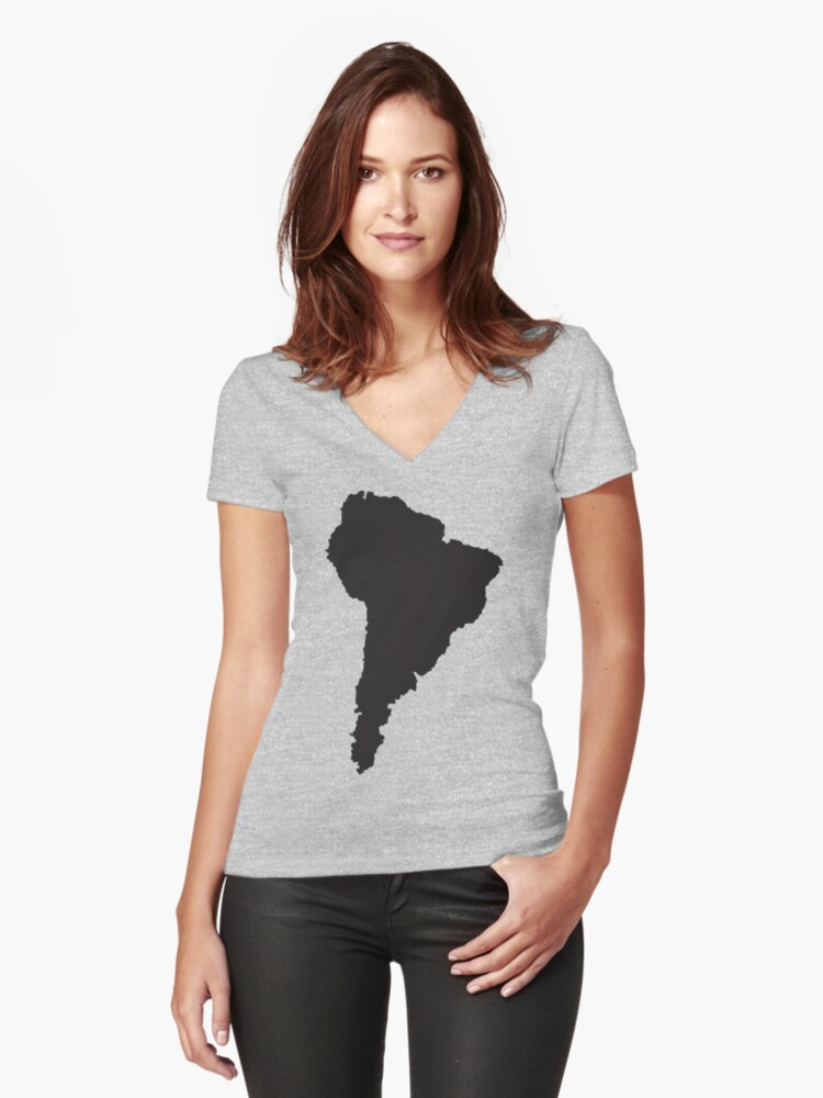 South America simple shape map Women's Fitted V-Neck T-Shirt Front