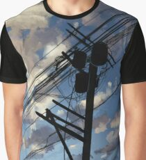 blue sky telephone wires Graphic T-Shirt