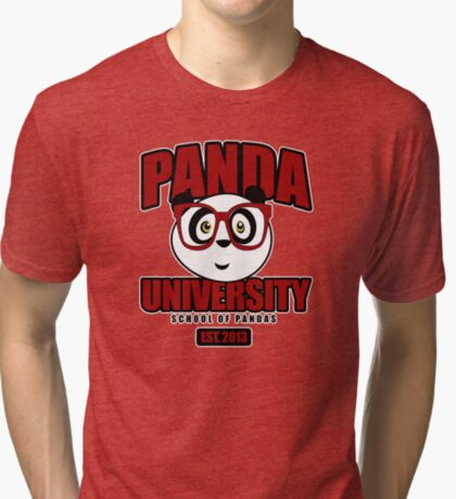 Panda University - Red Tri-blend T-Shirt