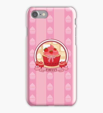 Sweet Strawberry Cupcake iPhone Case/Skin
