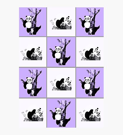 Pandas Checker - Purple Photographic Print