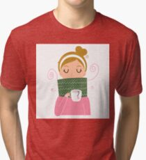 Beautiful Girl holding Tea vector Illustration Tri-blend T-Shirt