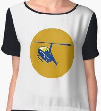 Helicopter Chopper Flying Circle Retro Women's Chiffon Top