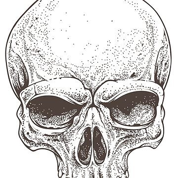 Realistic skull illustration in black & white by HeavenofHorror