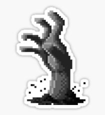 Zombie Grasp Pixels Black and White Sticker