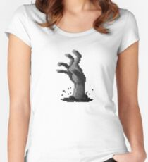 Zombie Grasp Pixels Black and White Women's Fitted Scoop T-Shirt