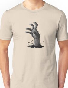 Zombie Grasp Pixels Black and White Unisex T-Shirt