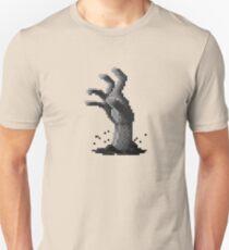 Zombie Grasp Pixels Black and White Unisex T-Shirt