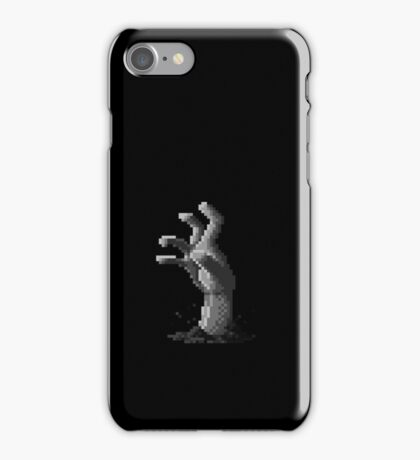Zombie Grasp Pixels Black and White iPhone Case/Skin