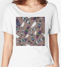 Colorful tribal feathers print. Vector illustration Women's Relaxed Fit T-Shirt