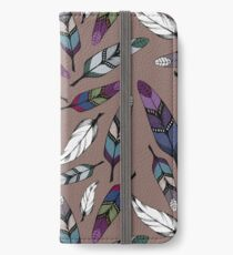 Colorful tribal feathers print. Vector illustration iPhone Wallet/Case/Skin