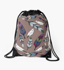 Colorful tribal feathers print. Vector illustration Drawstring Bag