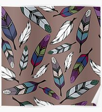 Colorful tribal feathers print. Vector illustration Poster