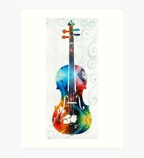 Colorful Violin Art by Sharon Cummings  Art Print