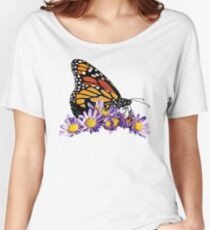 Monarch on Purple Flowers Women's Relaxed Fit T-Shirt