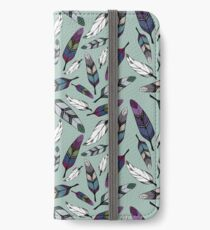 Colorful tribal feathers on mint background. Vector illustration print iPhone Wallet/Case/Skin