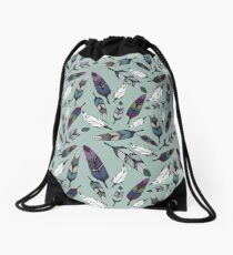 Colorful tribal feathers on mint background. Vector illustration print Drawstring Bag