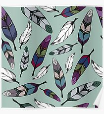 Colorful tribal feathers on mint background. Vector illustration print Poster