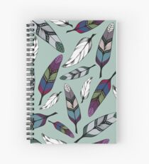 Colorful tribal feathers on mint background. Vector illustration print Spiral Notebook