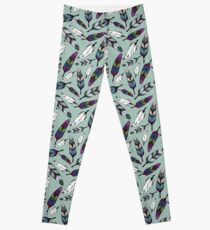 Colorful tribal feathers on mint background. Vector illustration print Leggings