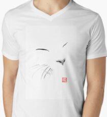 white cat Men's V-Neck T-Shirt