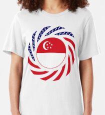 Singapore American Multinational Patriot Flag Series Slim Fit T-Shirt