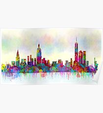 new york city skyline watercolor print Poster
