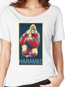 Harambe RIP Silverback Gorilla Gentle Giant Obama Style Poster Tribute Zoo Women's Relaxed Fit T-Shirt