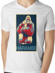 Harambe RIP Silverback Gorilla Gentle Giant Obama Style Poster Tribute Zoo Mens V-Neck T-Shirt