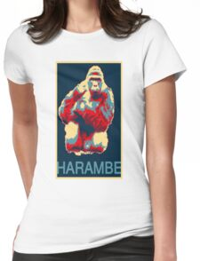 Harambe RIP Silverback Gorilla Gentle Giant Obama Style Poster Tribute Zoo Womens Fitted T-Shirt