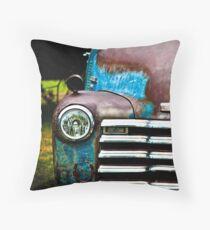 Vintage Blue Chevy Throw Pillow
