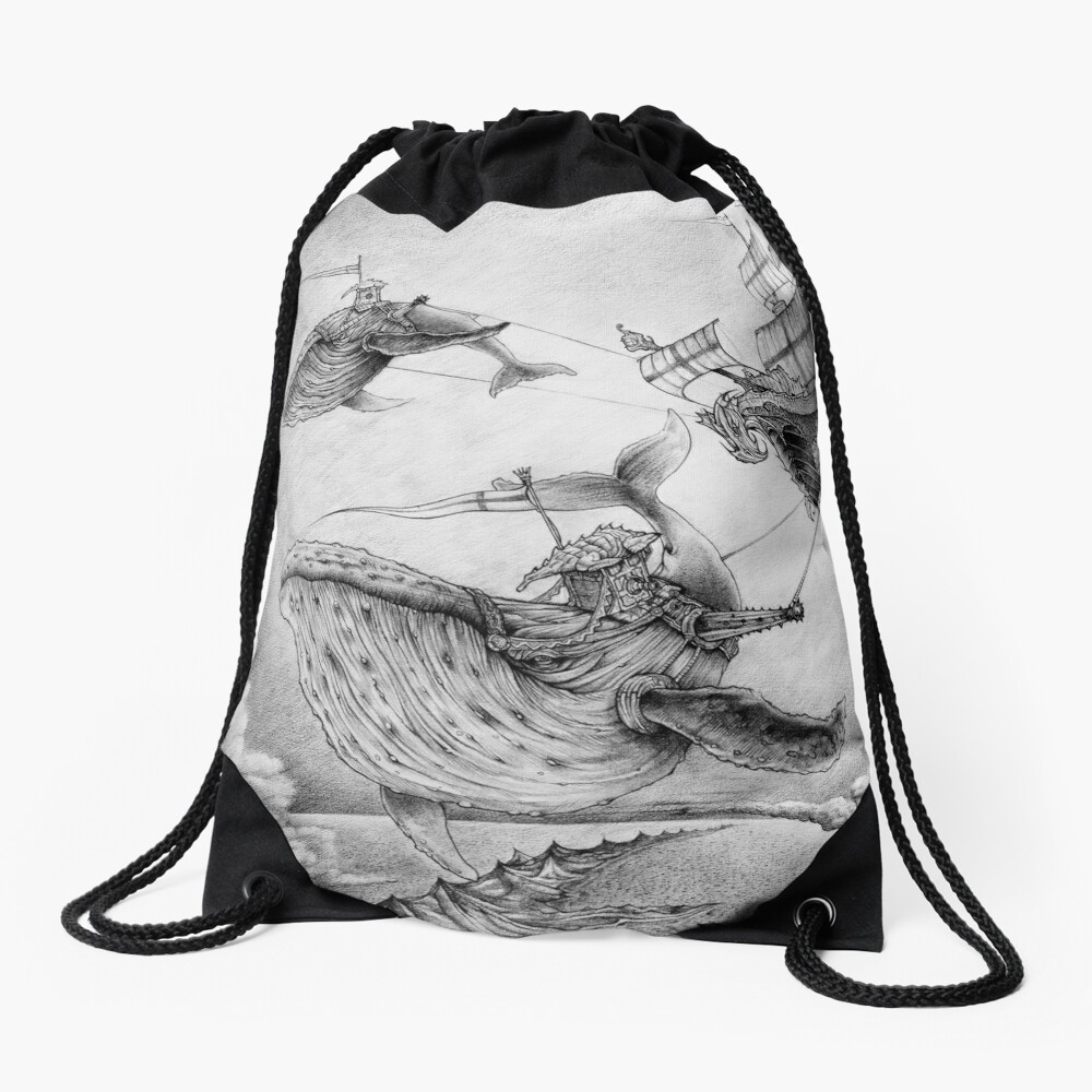 Wind Whales Drawstring Bag
