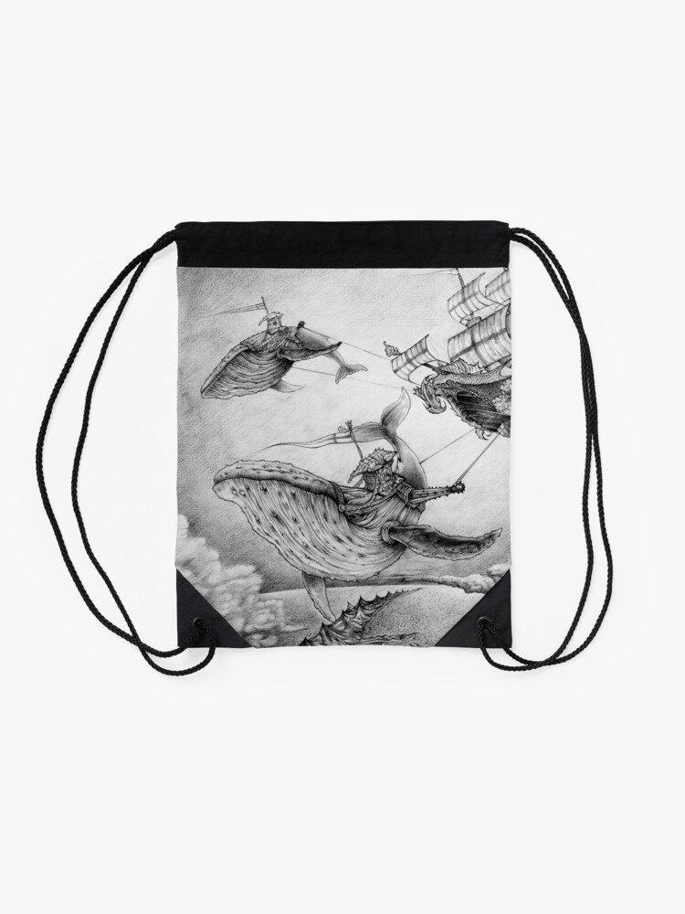 Alternate view of Wind Whales Drawstring Bag