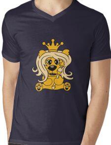 queen crown female princess queen woman scepter sitting Teddy comic cartoon sweet cute Mens V-Neck T-Shirt