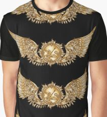 Mechanical wings in steampunk style with clockwork. Gold and black color. Graphic T-Shirt