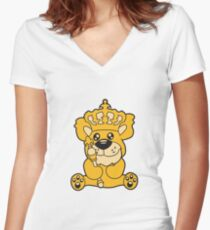 king crown old opa scepter sitting Teddy comic cartoon sweet cute Women's Fitted V-Neck T-Shirt
