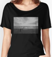 Sunset on Sauble Beach - Black and White Women's Relaxed Fit T-Shirt
