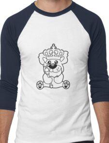 king crown old opa scepter sitting Teddy comic cartoon sweet cute Men's Baseball ¾ T-Shirt