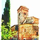 Pieve di Tho: church apse with bell tower and trees by Giuseppe Cocco