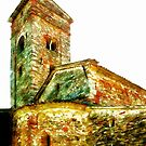Pieve di Tho: church apse with bell tower by Giuseppe Cocco